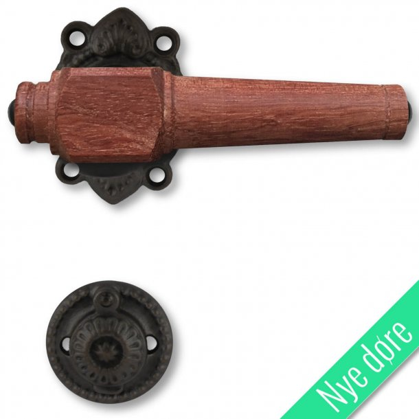 Træ dørgreb, indendørs - Sort jern og Palisander træ (21040106)