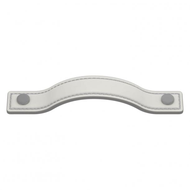 Uchwyt do mebli - Biała skóra / Satynowy chrom - Turnstyle Designs - Model A1180