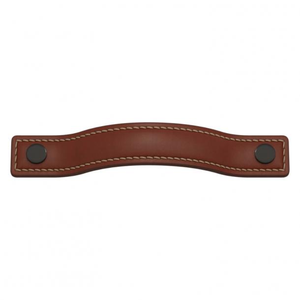 Turnstyle Designs Møbelgreb - Kastanjefarvet læder / Antik bronze - Model A1180