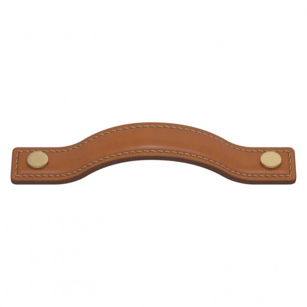 Turnstyle Designs Møbelgreb - Solbrunt læder / Poleret messing - Model A1180