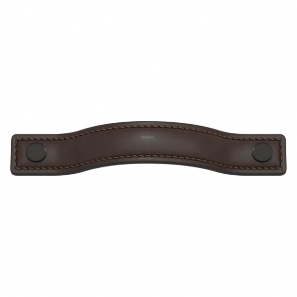 Turnstyle Designs Møbelgreb - Chokoladefarvet læder / Antik bronze - Model A1180