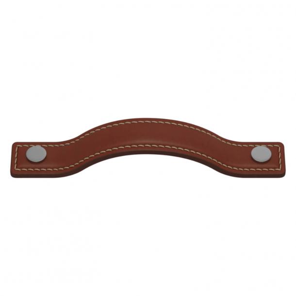 Turnstyle Designs Möbelhandtag - Kastanjfärgat läder / Satin krom - Modell A1180