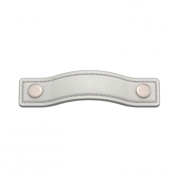 Turnstyle Designs Cabinet handles - White leather / Satin nickel - Model A1181