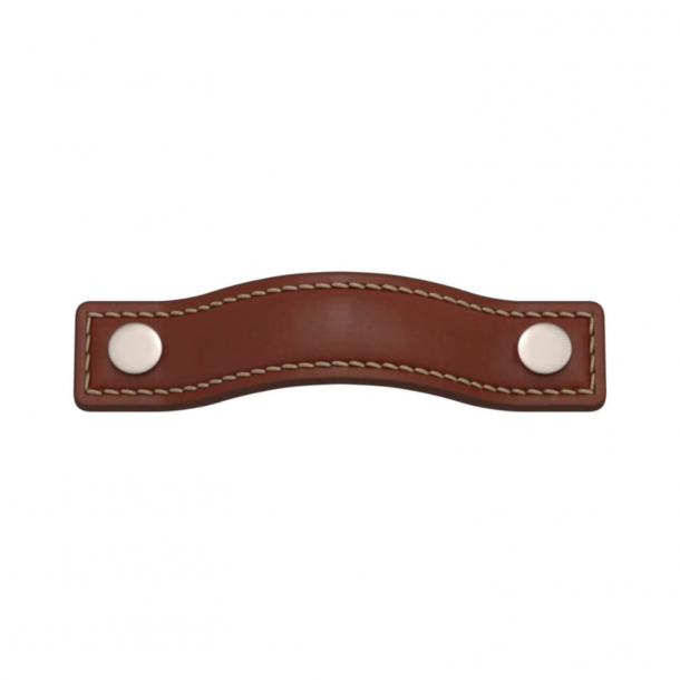 Turnstyle Designs Cabinet handles - Chestnut leather / Satin nickel - Model A1181