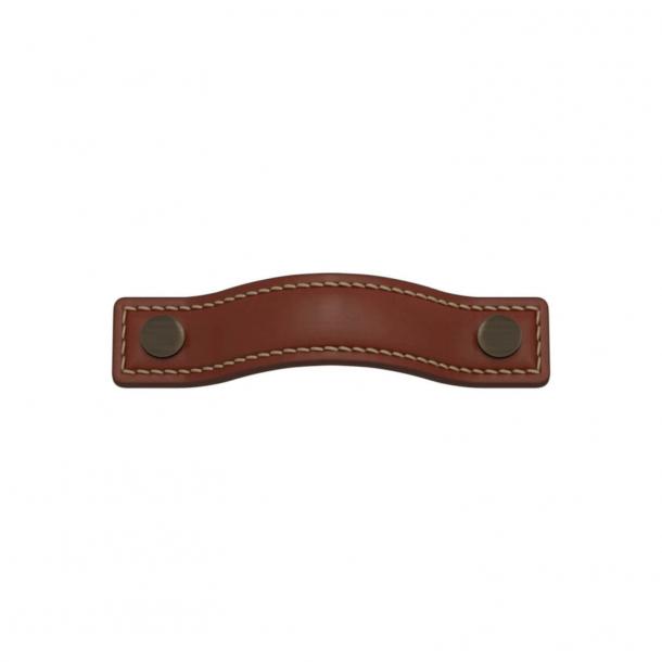 Turnstyle Designs Møbelgreb - Kastanjefarvet læder / Antik messing - Model A1182