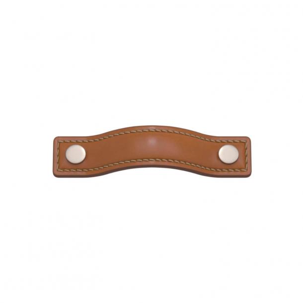 Turnstyle Designs Møbelgreb - Solbrunt læder / Satin nikkel - Model A1182