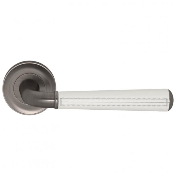 Turnstyle Design Door Handle - White leather /  Vintage nickel - Model CF2992