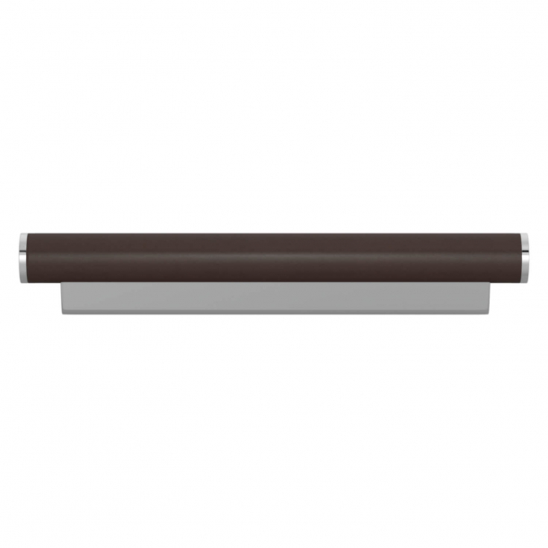 Turnstyle Designs Cabinet handle - Chocolate leather / Bright chrome - Model R2231