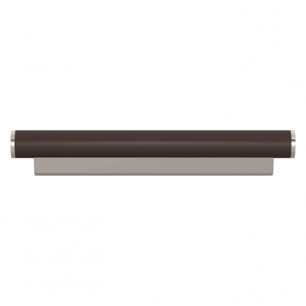Turnstyle Designs Cabinet handle - Chocolate leather / Polished nickel - Model R2231