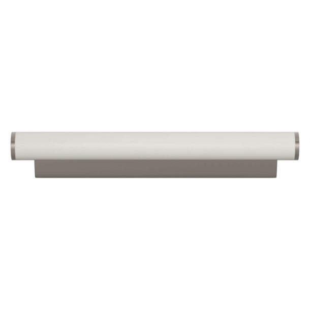 Turnstyle Designs Cabinet handle - White leather / Satin nickel - Model R2231