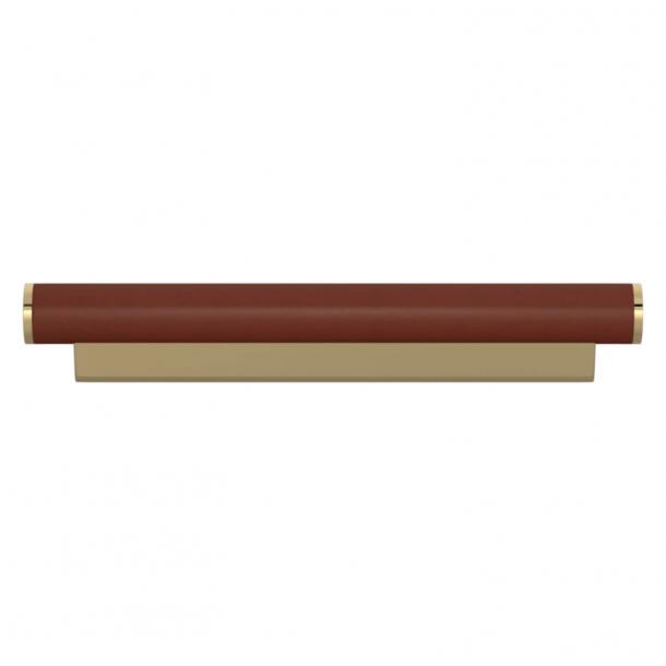 Turnstyle Designs Möbelhandtag - Kastanjefärgat läder / Polerad mässing - Model R2231