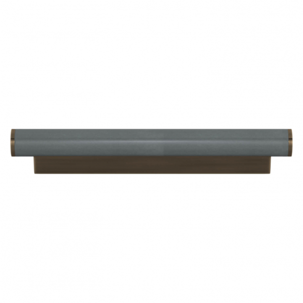 Turnstyle Designs Cabinet handle - Slate gray leather / Antique brass - Model R2231