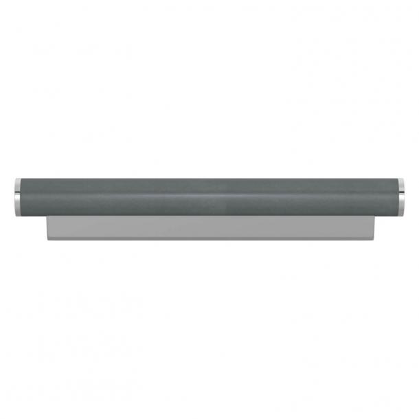 Turnstyle Designs Møbelgreb - Skifergråt læder / Blank krom - Model R2231