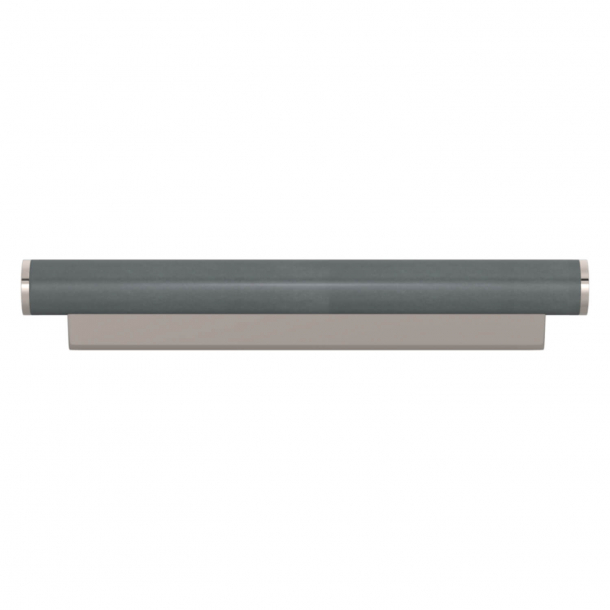 Turnstyle Designs Cabinet handle - Slate gray leather / Polished nickel - Model R2231