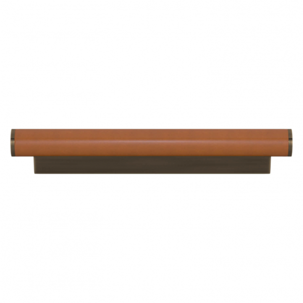 Turnstyle Designs Cabinet handle - Tan leather / Antique brass - Model R2231