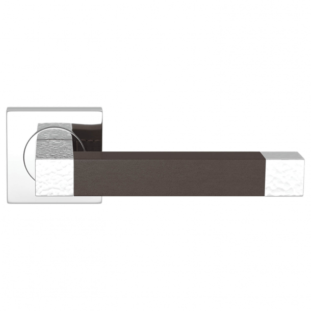 Turnstyle Design Dørgreb - Chocolate leather / Bright chrome - Model HR1021
