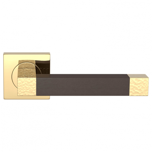 Klamka do drzwi - Turnstyle Design - Skóra w kolorze czekolady / Polerowany mosiądz - Model HR1021
