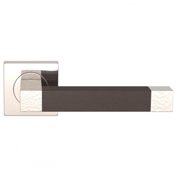 Turnstyle Design Dørgreb - Chocolate leather / Polished nickel - Model HR1021