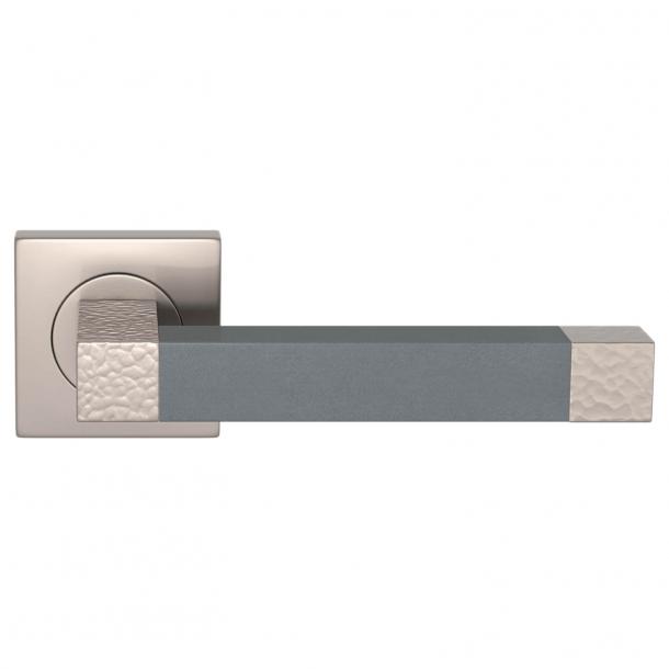 Turnstyle Design Dørgreb - Slate gray leather / Satin nickel - Model HR1021