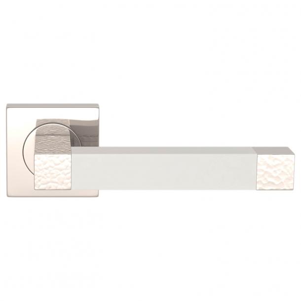 Turnstyle Design Dørgreb - White leather / Polished nickel - Model HR1021