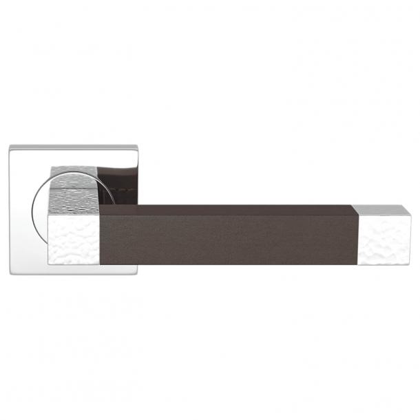 Turnstyle Design Dørgreb - Chocolate leather / Bright chrome - Model HR1021