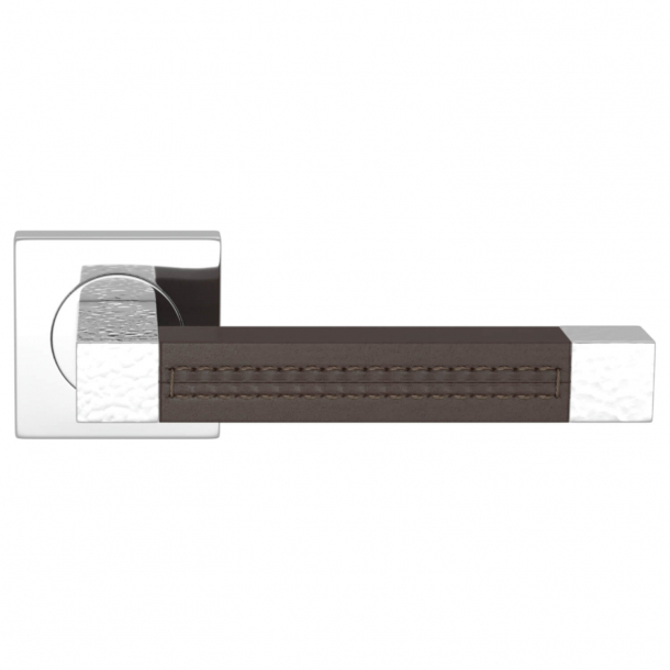 Turnstyle Design Dørgreb - Chokoladefarvet læder / Blank krom - Model HR1025