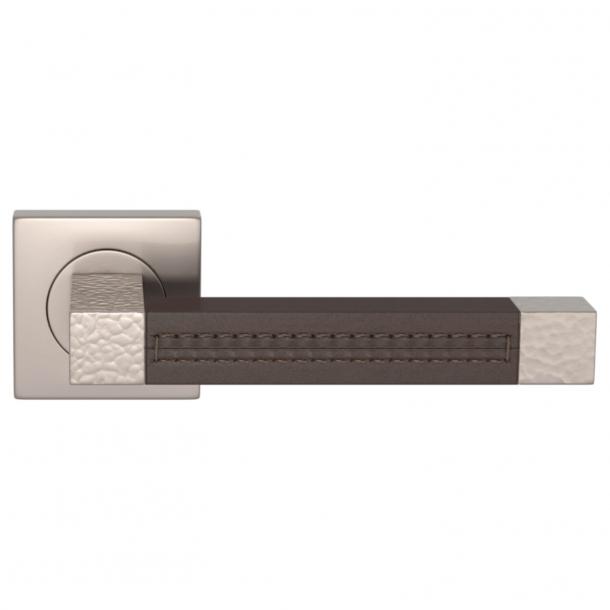 Turnstyle Design Dørgreb - Chocolate leather / Satin nickel - Model HR1025
