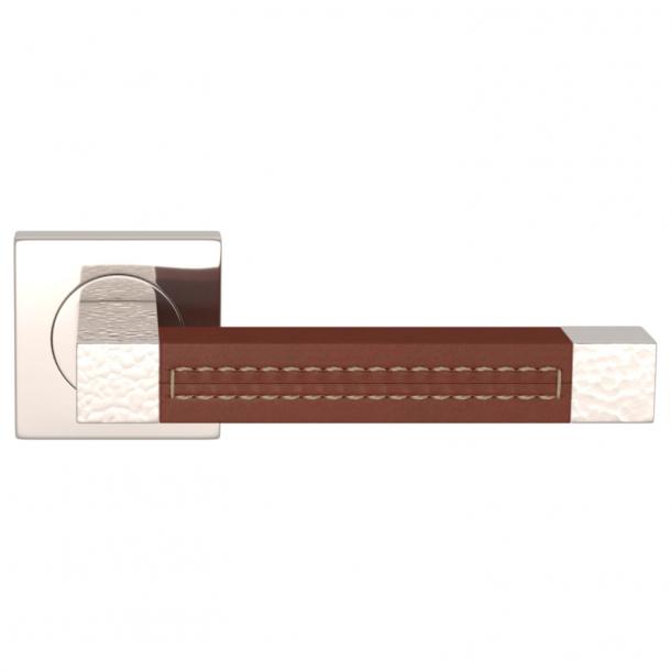 Turnstyle Design Dørgreb - Chestnut leather / Polished nickel - Model HR1025