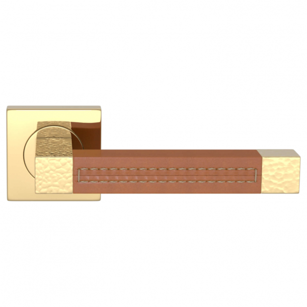 Turnstyle Design Dørgreb - Tan leather / Polished brass - Model HR1025