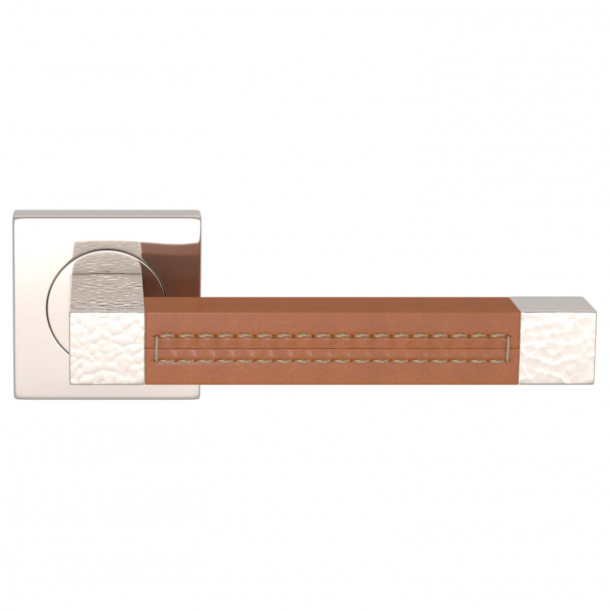 Turnstyle Design Dørgreb - Tan leather / Polished nickel - Model HR1025
