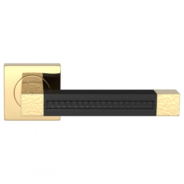 Turnstyle Design Dørgreb - Black leather / Polished brass - Model HR1025