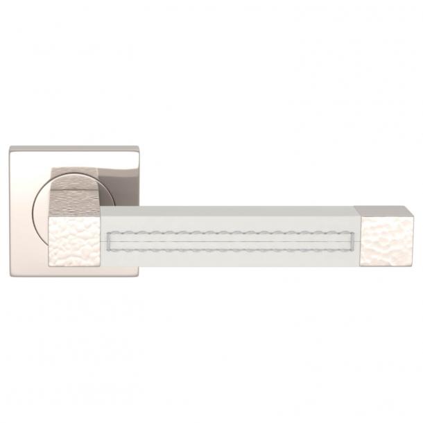 Turnstyle Design Dørgreb - Hvidt læder / Poleret nikkel - Model HR1025