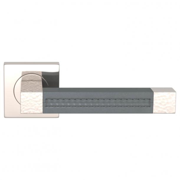 Klamka do drzwi - Turnstyle Design - Szara skóra / Nikiel polerowany - Model HR1025
