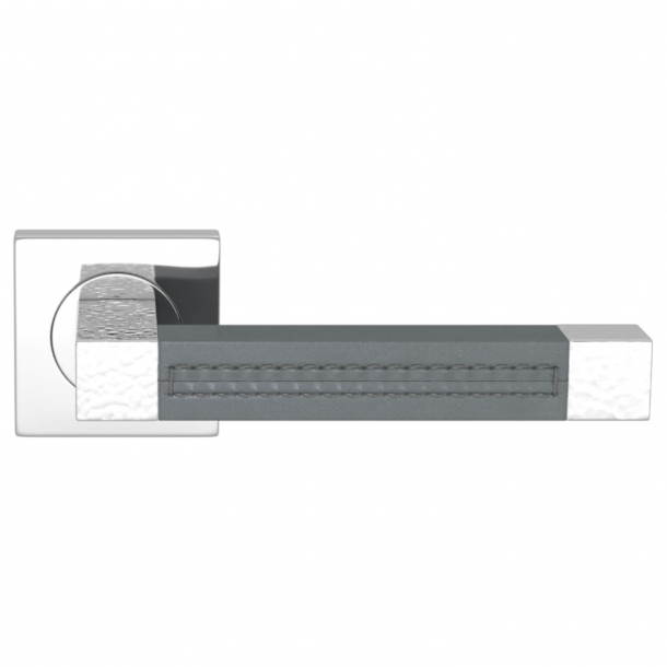 Turnstyle Design Dørgreb - Slate gray leather / Bright chrome - Model HR1025