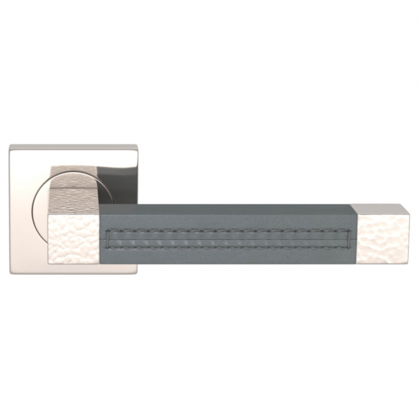 Turnstyle Design Dørgreb - Slate gray leather / Polished nickel - Model HR1025