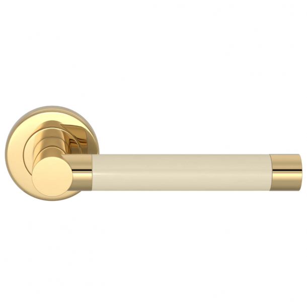 Turnstyle Design Door handle - Bone / Polished brass - Model P1333
