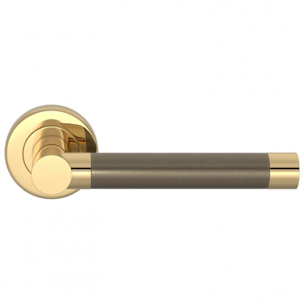 Turnstyle Design Door handle - Silver bronze / Polished brass - Model P1333