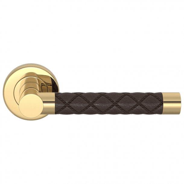 Door handle Amalfine - Cocoa / Polished brass - Model CHESTERFIELD