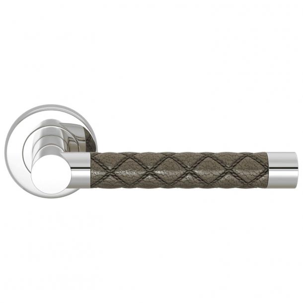 Klamka do drzwi - Turnstyle Design - Amalfine - Srebrny Brąz / Jasny chrom - model CHESTERFIELD