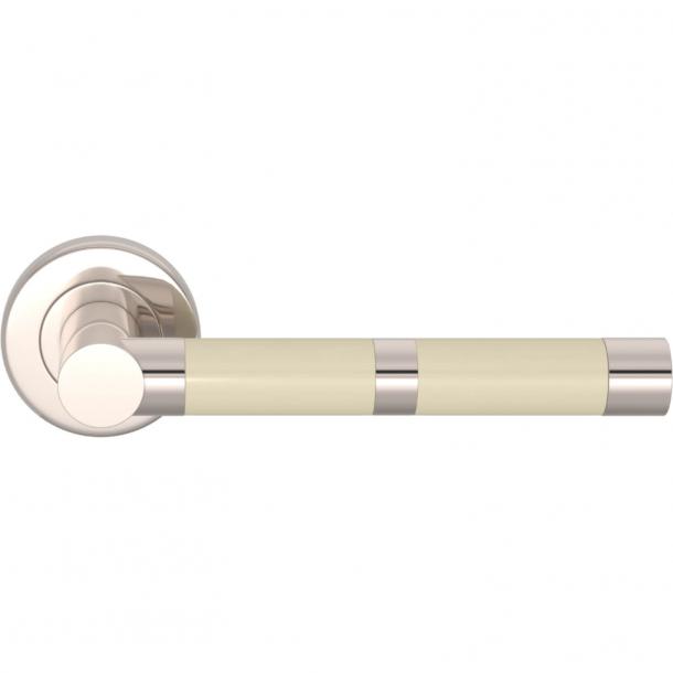 Turnstyle Design Dørgreb - Amalfine - Knoglefarvet / Poleret nikkel - Model P2771