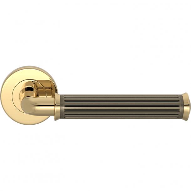 Turnstyle Design Dørgreb - Amalfine - Sølv bronze / Poleret messing - Model QA2020