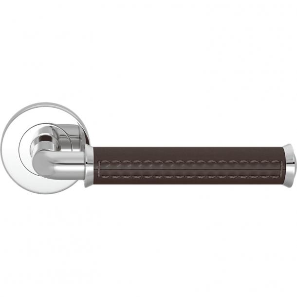Turnstyle Design Door handle - Chocolate leather / Bright chrome - Model QL2004