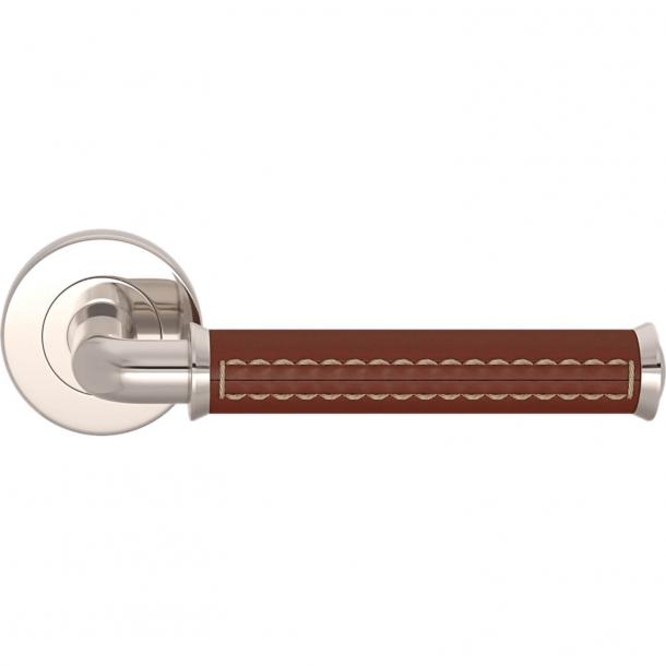 Turnstyle Design Door handle - Chestnut leather / Polished nickel - Model QL2004