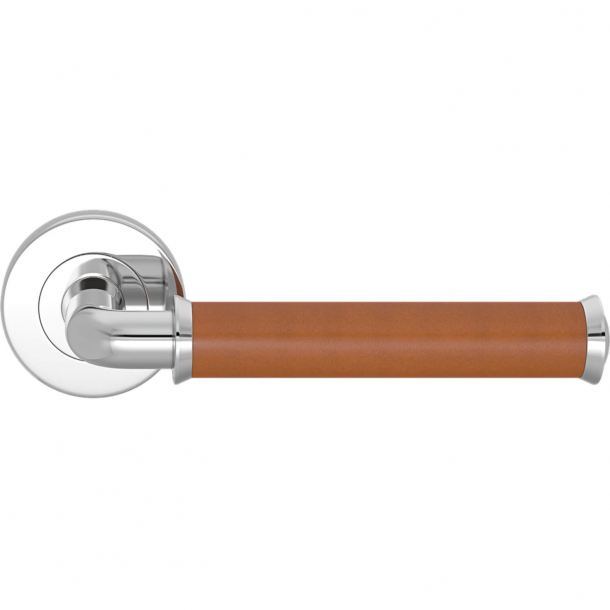 Turnstyle Design Door handle - Tan leather / Bright chrome - Model QL2242