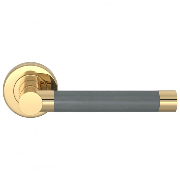 Turnstyle Design Door Handle - Slate gray Leather / Polished brass - Model R1018