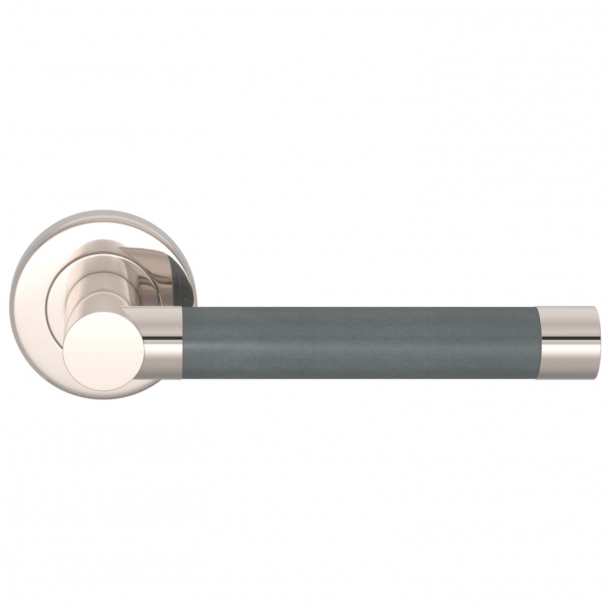 Turnstyle Design Door Handle - Tan leather / Polished nickel - Stitch in - Model R1018