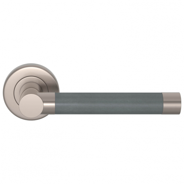 Turnstyle Design Dørgreb - Skiffergrå læder / Børstet nikkel - Syninger indad - Model R1018