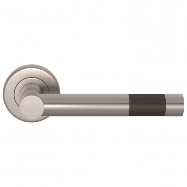 Turnstyle Design Door Handle - Chocolate Leather / Satin nickel - Model R1020
