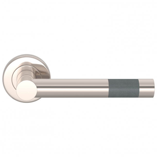 Turnstyle Design Door Handle - Slate gray leather / Satin nickel - Model R1020