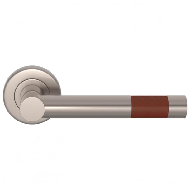 Turnstyle Design Door Handle - Chestnut Leather / Satin nickel - Model R1020